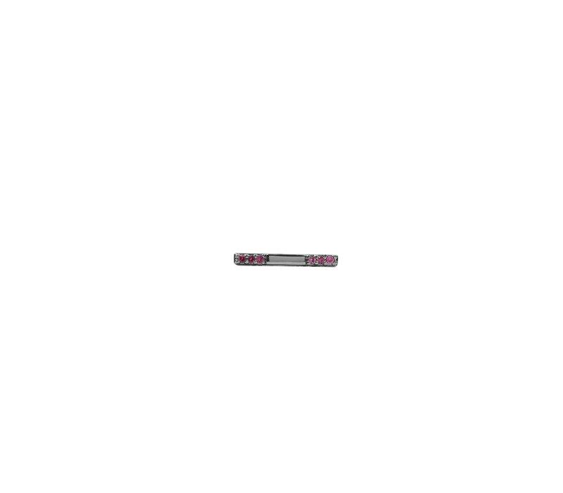 Oorbel Bar Ruby roze zilver