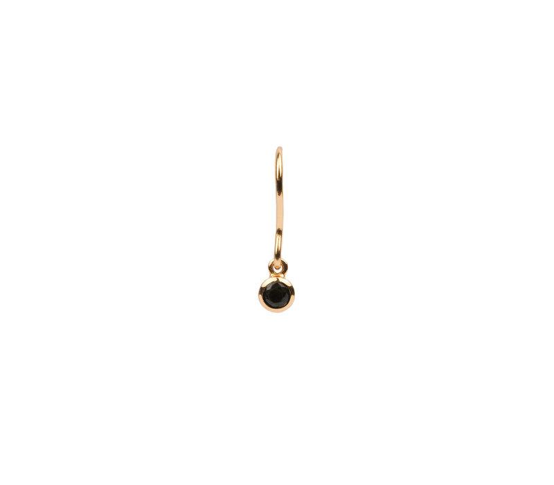 Oorbel Hook Black Onyx verguld