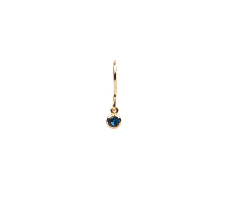Earring Hook Sapphire blue 18K gold
