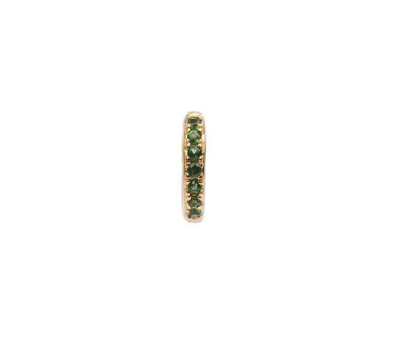 Earring Creole Emerald green 18K gold