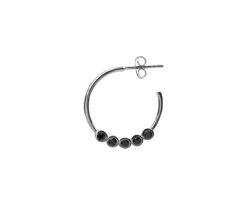 Bliss Silverplated Earring Creole big Black