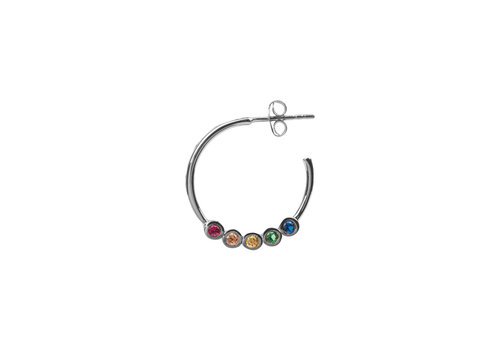 All the Luck in the World Bliss Silverplated Oorbel Creool groot Multi