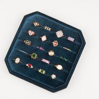 Fluweel ring display box Geel