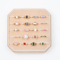 Fluweel ring display box Beige