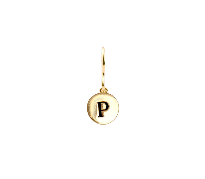 Character Goldplated Oorbel letter P