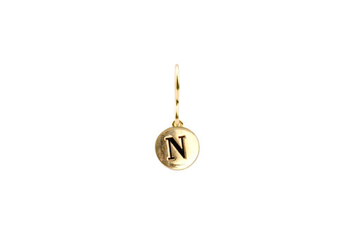 All the Luck in the World Earring letter N gold