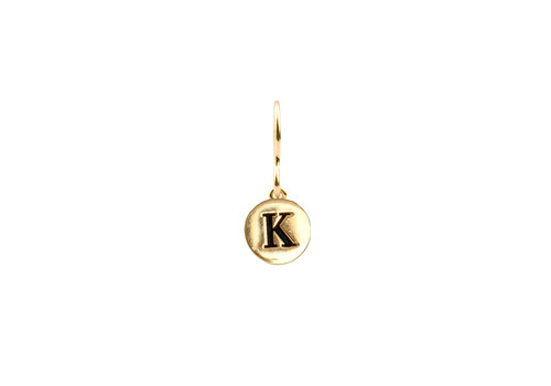 All the Luck in the World Oorbel letter K 18K goud