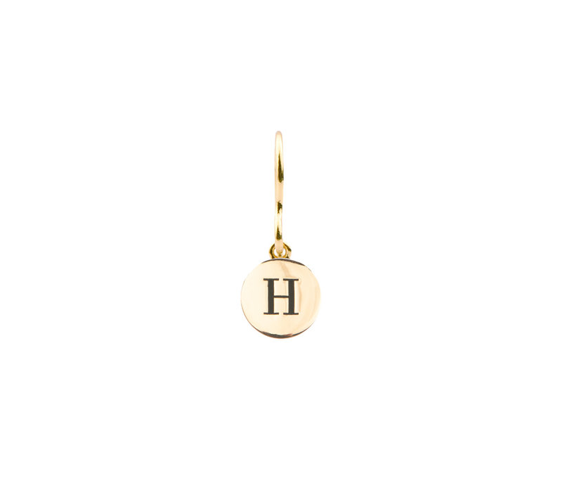 Character Goldplated Oorbel letter H