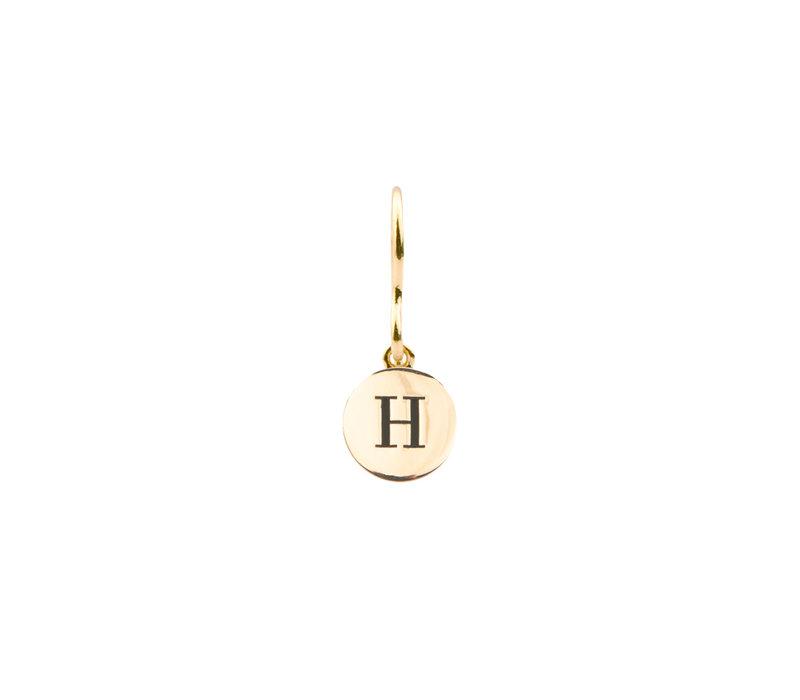 Oorbel letter H 18K goud