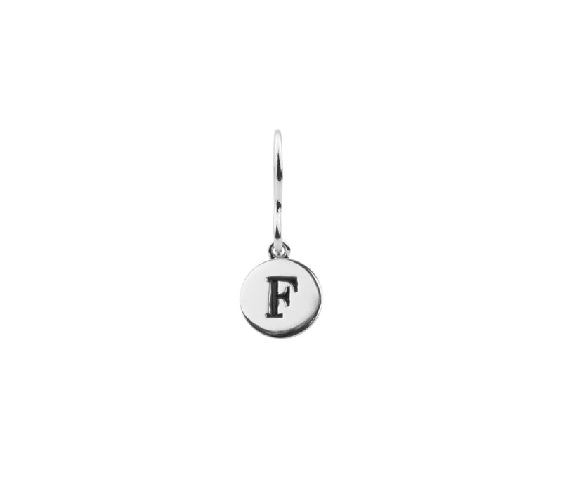 Oorbel letter F zilver