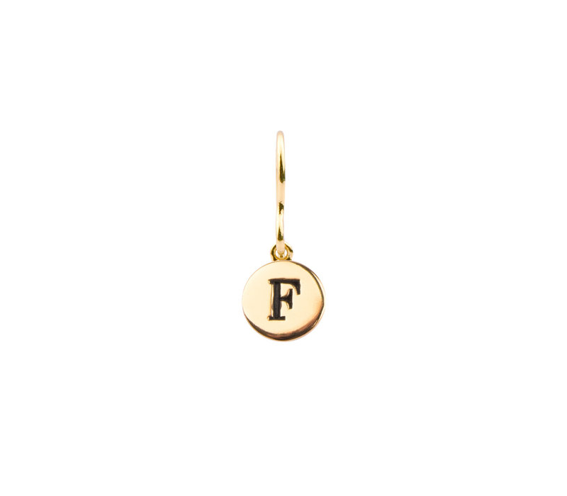 Oorbel letter F 18K goud