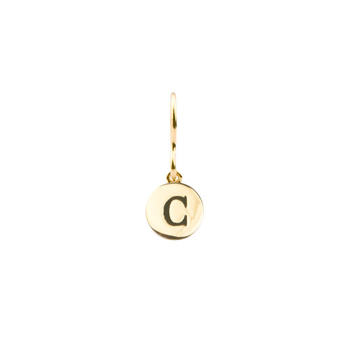 Character Goldplated Oorbel letter C