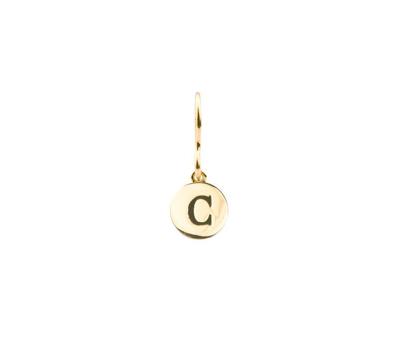 Oorbel letter C 18K goud