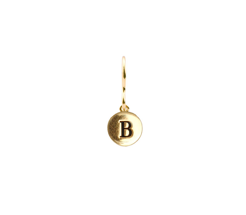 Character Goldplated Oorbel letter B