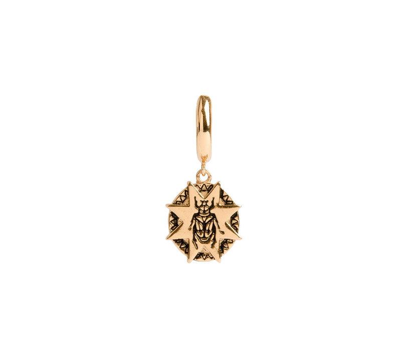Charm Goldplated Oorbel Kever Ster Cirkel