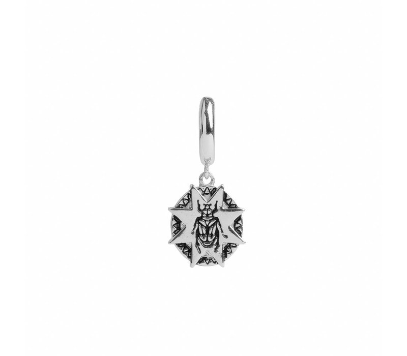Charm Silverplated Earring Beatle Starry Circle
