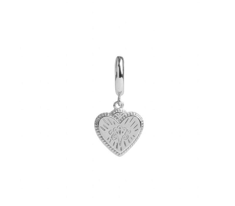 Charm Silverplated Earring Burst Heart
