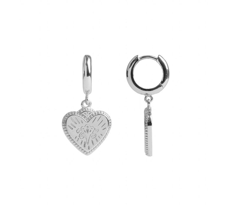 Earring Burst Heart silver