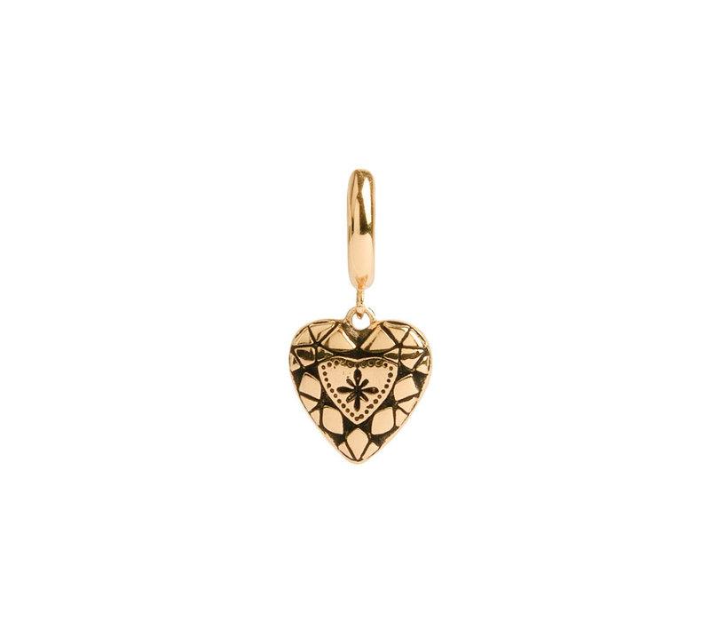 Oorbel Diamant Hart verguld