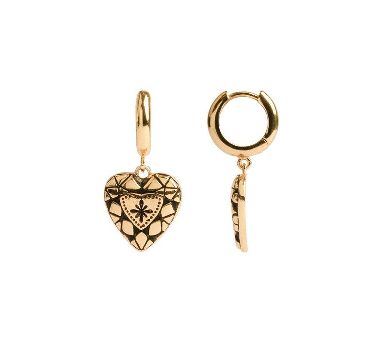 Charm Goldplated Earring Diamond Heart