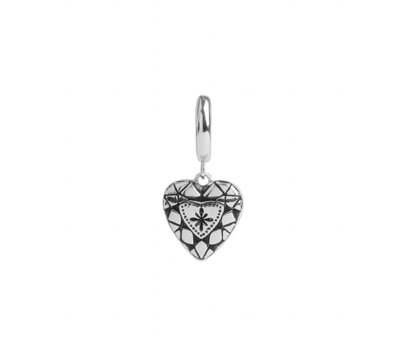Charm Silverplated Earring Diamond Heart
