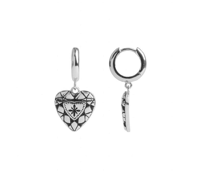 Oorbel Diamant Hart zilver