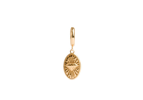 All the Luck in the World Charm Goldplated Earring Diamond Oval