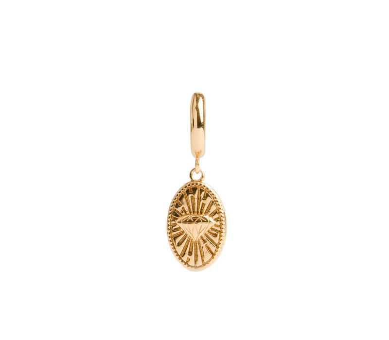 Earring Diamond Oval plated