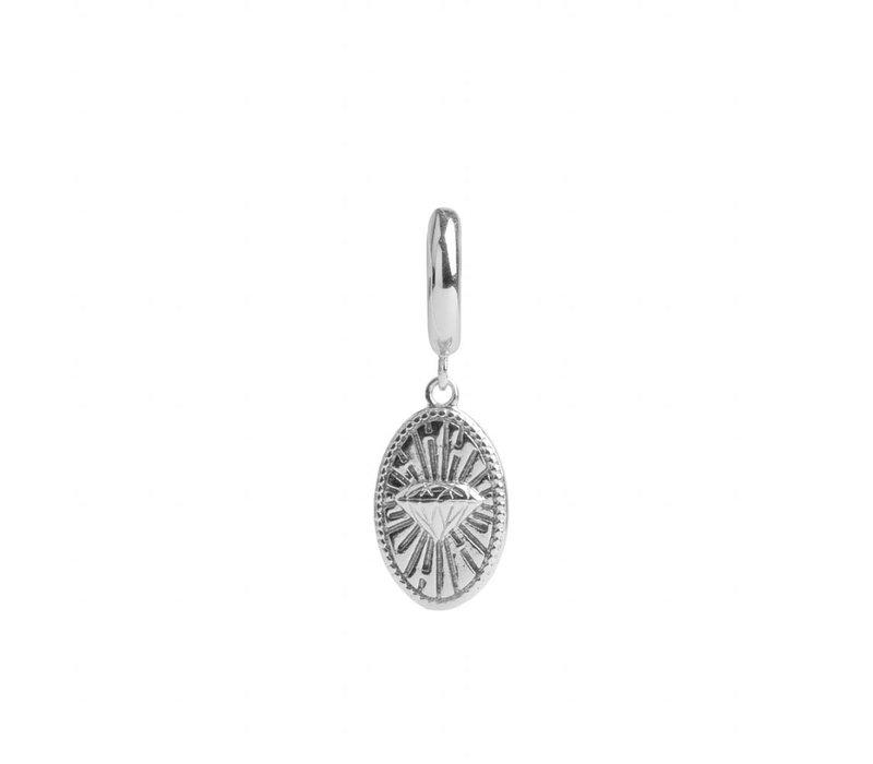 Earring Diamond Oval silver