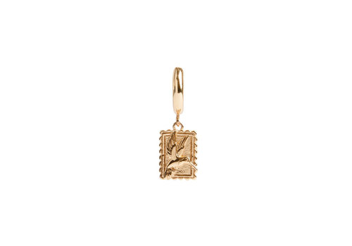 All the Luck in the World Charm Goldplated Oorbel Kolibrie Rechthoek