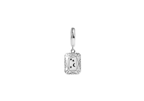 All the Luck in the World Earring Moon Stars Rectangle silver