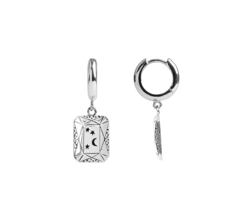 Charm Silverplated Earring Moon Stars Rectangle