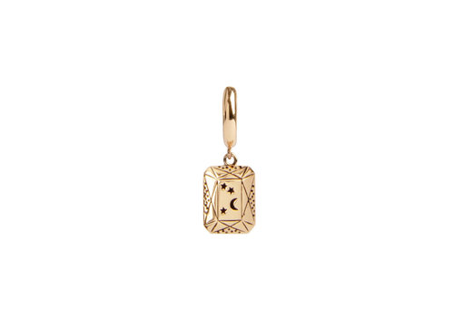 All the Luck in the World Charm Goldplated Earring Moon Stars Rectangle