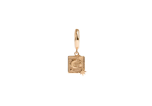 All the Luck in the World Charm Goldplated Earring Moon Stars Square
