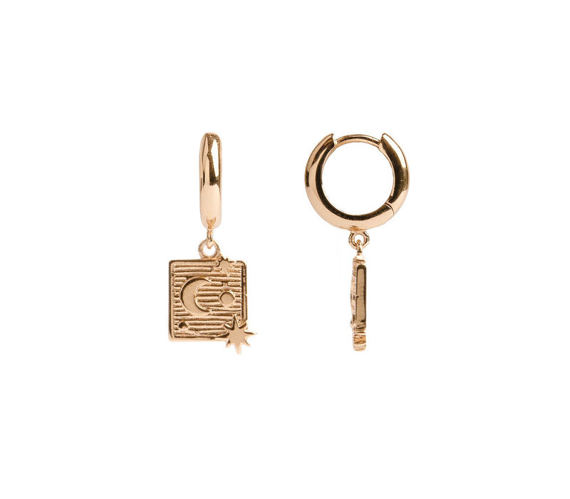 Charm Goldplated Earring Moon Stars Square