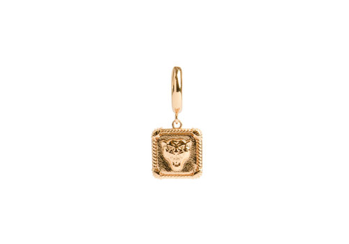 All the Luck in the World Charm Goldplated Oorbel Panter Vierkant