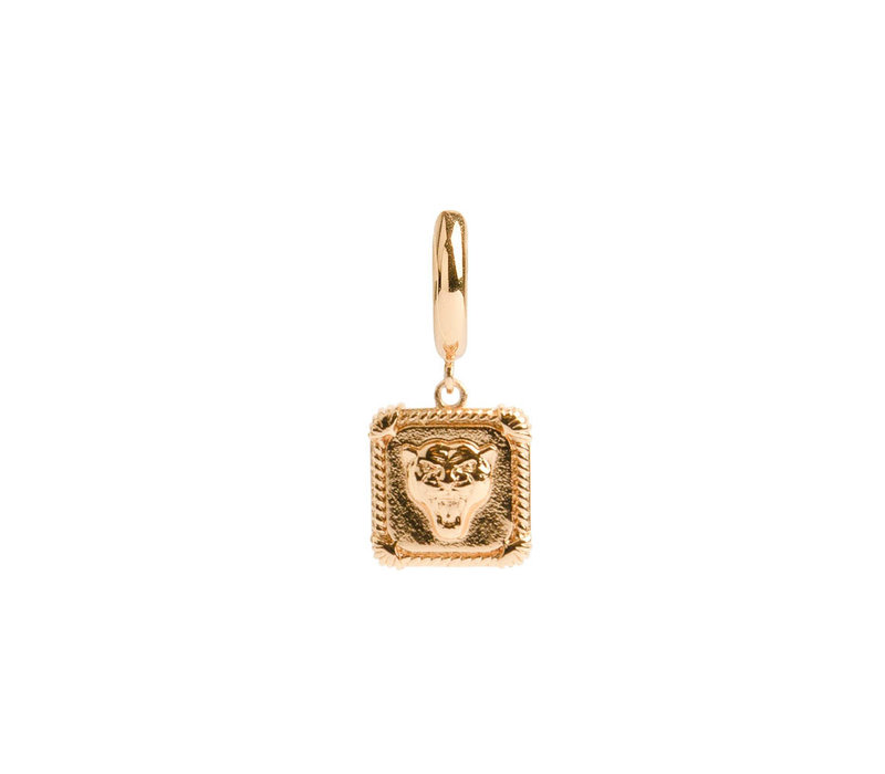 Charm Goldplated Earring Panter Square