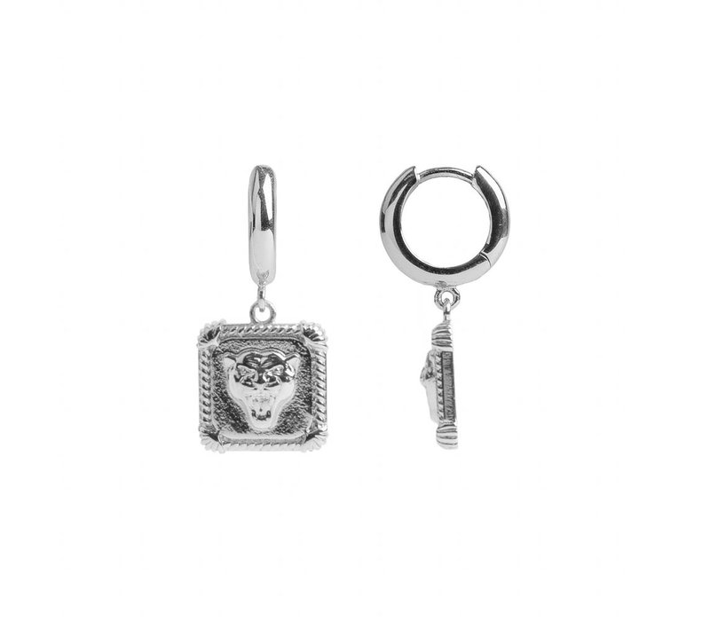 Charm Silverplated Earring Panter Square