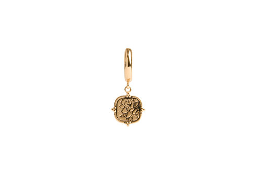 All the Luck in the World Charm Goldplated Oorbel Pioenroos Vierkant