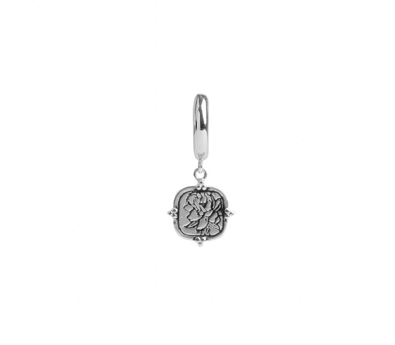 Earring Peony Square silver