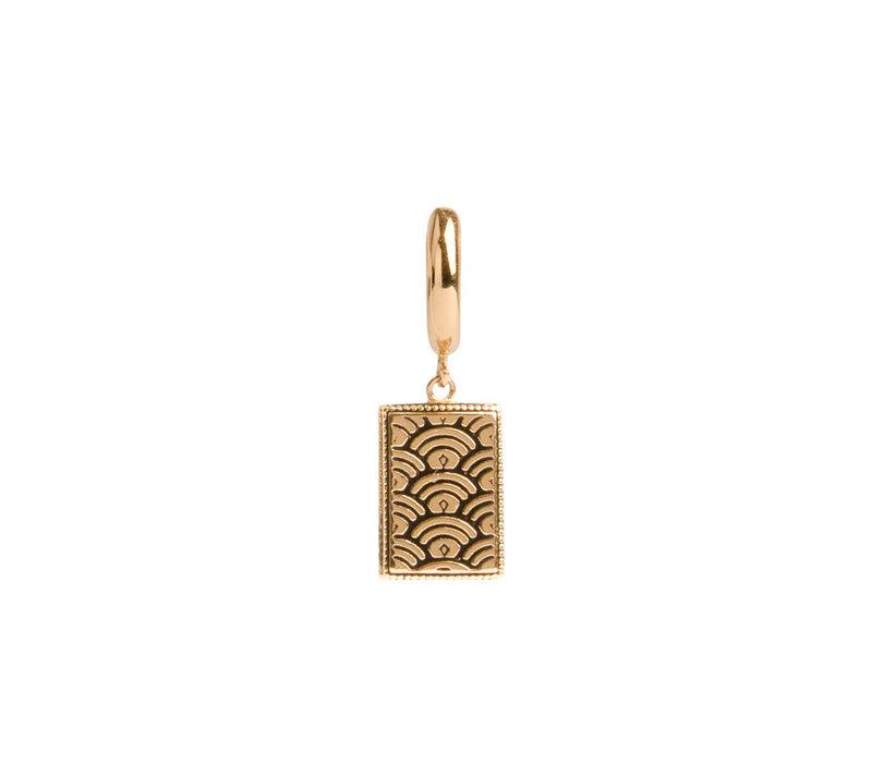 Charm Goldplated Oorbel Regenboog Rechthoek