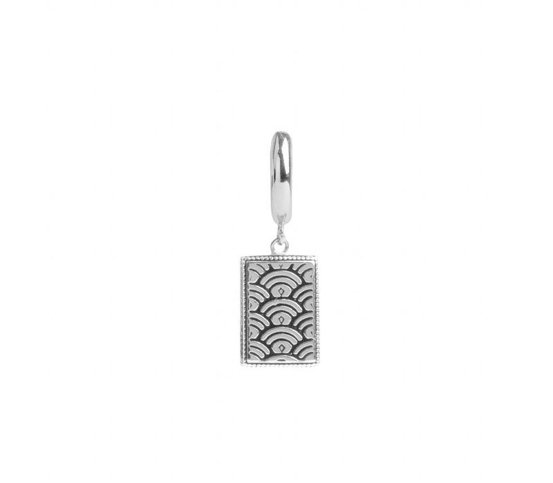 Charm Silverplated Oorbel Regenboog Rechthoek