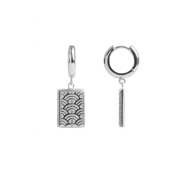 Earring Rainbow Rectangle silver
