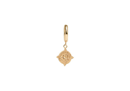 All the Luck in the World Charm Goldplated Earring Rose Circle
