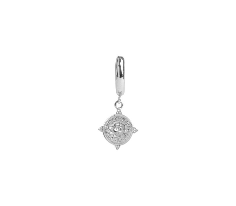 Charm Silverplated Earring Rose Circle