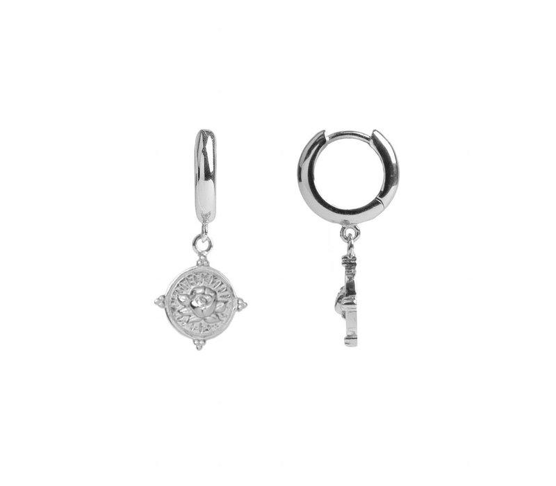 Charm Silverplated Oorbel Roos Cirkel