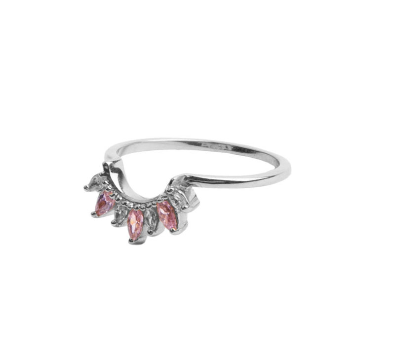 Magique Silverplated Ring Kroon Roze Transparant