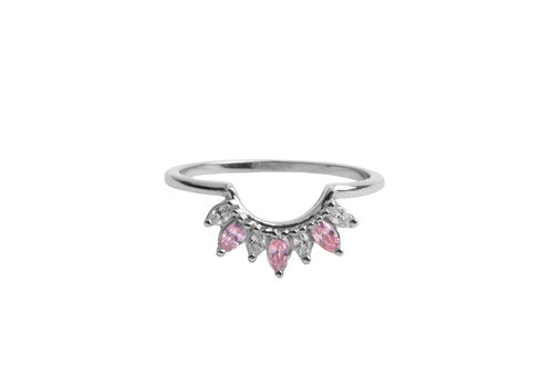 All the Luck in the World Magique Silverplated Ring Crown Pink Clear
