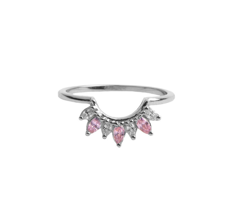 Ring Crown Pink Clear silver