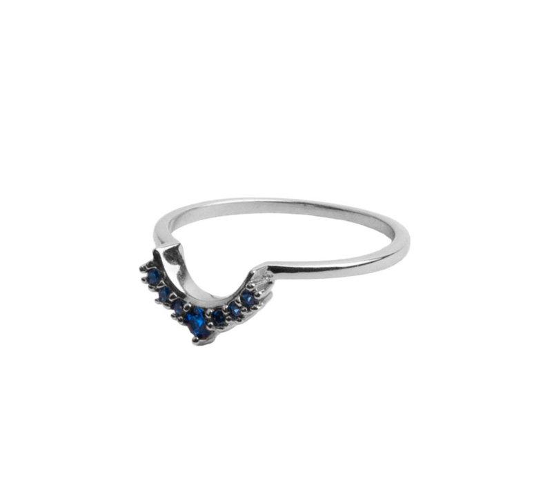 Ring Kroon Blauw zilver